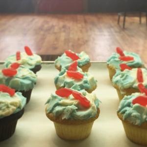 swedish fish cupcakes